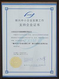 振兴中小企业发展工作支持企业证书